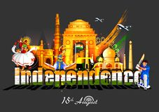 Indische tricolorachtergrond voor 15de August Happy Independence Day van India Stock Afbeeldingen