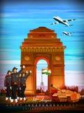Indische tricolorachtergrond voor 15de August Happy Independence Day van India Royalty-vrije Stock Afbeeldingen