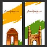 Indische tricolorachtergrond voor 15de August Happy Independence Day van India Royalty-vrije Stock Foto's