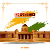 Indische tricolorachtergrond voor 15de August Happy Independence Day van India royalty-vrije illustratie