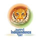Indische tricolorachtergrond voor 15de August Happy Independence Day van India Stock Afbeelding
