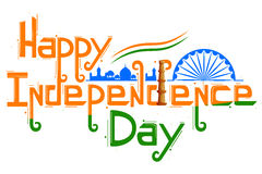 Indische tricolorvlag voor Gelukkige Onafhankelijkheidsdag Stock Afbeeldingen