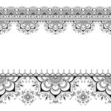 Indische van het de grens bloemenpatroon van de mehndihenna de elementenkaart voor tatoegering op witte achtergrond royalty-vrije stock afbeeldingen