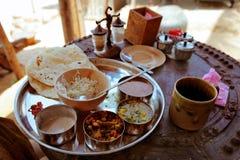 Indische vegetarische voedsel dichte omhooggaand royalty-vrije stock foto