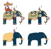 Indische verfraaide olifant met ruitermaharadja en zijn bedienden Vector illustratie vector illustratie