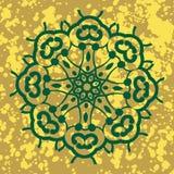 Indische Verzierung, kaleidoskopisches Blumenmuster, Stockfoto