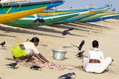 Indische visser met de vissen Stock Afbeelding