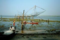 Indische vissers in Kerala Stock Foto's