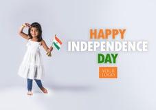 Indische vlag en mensen Stock Foto