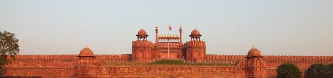 Indische Vlag op Rood Fort Stock Foto