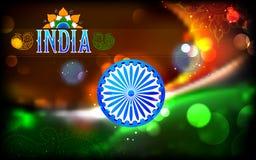 Indische vlagtricolor met Ashok Chakra Royalty-vrije Stock Foto