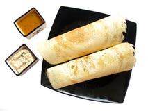 Indische voedsel-Dosa en sambhar Stock Foto's