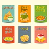 Indische voedselbanners, kaarten, geplaatste affiches, uitstekende kleuren Royalty-vrije Stock Fotografie