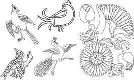 Indische vogels en bloemmotief Stock Afbeelding