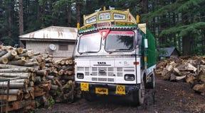 Indische vrachtwagen bij de zaagmolen royalty-vrije stock foto's