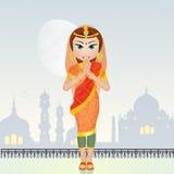 Indische vrouw bij de moskee royalty-vrije illustratie