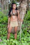 Indische vrouw in de wildernis stock afbeelding