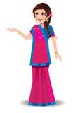 Indische vrouw in een Gujarati-saree Royalty-vrije Stock Foto's