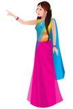Indische vrouw in een traditionele saree Stock Fotografie