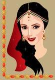 Indische vrouw met juwelen Stock Foto