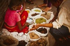Indische vrouwen verkopende kruiden op de straat Royalty-vrije Stock Afbeeldingen