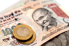 Indische Währungs-Rupien-Banknoten und Münzen Lizenzfreies Stockfoto