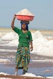 Indische weibliche Arbeitskräfte auf Salzbauernhof lizenzfreie stockfotografie