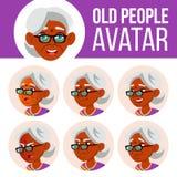 Indischer alte Frauen-Avatara-Satz-Vektor hinduistisch Asiatisch Stellen Sie Gefühle gegenüber Älterer Person Portrait Ältere Men lizenzfreie abbildung