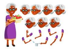 Indischer alte Frauen-Vektor hinduistisch Asiatisch Ältere Person Gealtert, ältere Menschen Freunde, Leben Gesichts-Gefühle, vers lizenzfreie abbildung