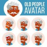 Indischer alter Mann-Avatara-Satz-Vektor Stellen Sie Gefühle gegenüber hinduistisch Asiatisch Älterer Person Portrait Ältere Mens stock abbildung