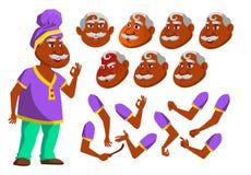 Indischer alter Mann-Vektor Ältere Person Gealterter Hindu Asiatisch Active, Ausdruck Gesichts-Gefühle, verschiedene Gesten anima lizenzfreie abbildung