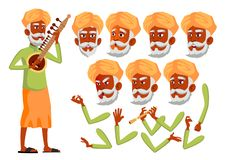 Indischer alter Mann-Vektor hinduistisch Asiatisch Ältere Person Gealtert, ältere Menschen Freunde, Leben Gesichts-Gefühle, versc stock abbildung