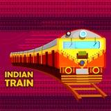 Indischer Bahnzug, der buntes Indien darstellt Lizenzfreie Stockfotos