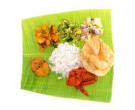 Indischer Bananenblattreis Stockfotos