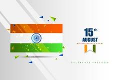Indischer dreifarbiger Hintergrund für 15. August Happy Independence Day von Indien lizenzfreie abbildung