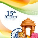 Indischer dreifarbiger Hintergrund für 15. August Happy Independence Day von Indien Stockbilder