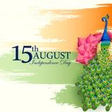 Indischer dreifarbiger Hintergrund für 15. August Happy Independence Day von Indien Lizenzfreies Stockbild