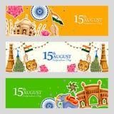 Indischer dreifarbiger Hintergrund für 15. August Happy Independence Day von Indien Lizenzfreie Stockfotos