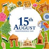 Indischer dreifarbiger Hintergrund für 15. August Happy Independence Day von Indien Stockfoto