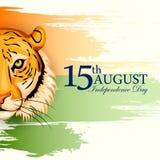 Indischer dreifarbiger Hintergrund für 15. August Happy Independence Day von Indien Lizenzfreie Stockfotografie