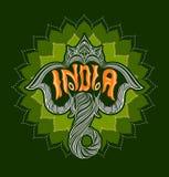Indischer Elefant mit dem Wort Indien Lizenzfreie Stockfotos