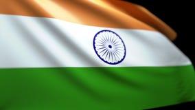 Indischer Flaggen-Hintergrund, der im Wind nahtloses Schleifungsluma Matt-4K durchbrennt lizenzfreie abbildung