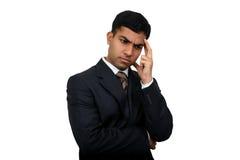 Indischer Geschäftsmann, der 3 denkt Lizenzfreie Stockfotos
