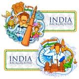 Indischer Hintergrund, der seine unglaubliche Kultur und Verschiedenartigkeit für 15. August Independence Day von Indien zeigt Stockbild