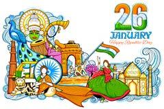 Indischer Hintergrund, der seine unglaubliche Kultur und Verschiedenartigkeit mit Monument, Festivalfeier für den 26. Januar zeig lizenzfreie abbildung