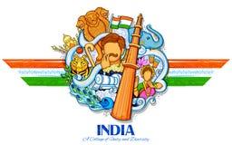 Indischer Hintergrund, der seine unglaubliche Kultur und Verschiedenartigkeit mit Monument-, Tanz- und Festivalfeier für 15. zeig Stockfotografie