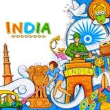 Indischer Hintergrund, der seine unglaubliche Kultur und Verschiedenartigkeit mit Monument-, Tanz- und Festivalfeier für 15. zeig Stockbilder