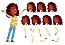 Indischer jugendlich Mädchen-Vektor jugendlicher Freundlich, Beifall hinduistisch Asiatisch Gesichts-Gefühle, verschiedene Gesten stock abbildung