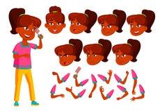 Indischer jugendlich Mädchen-Vektor jugendlicher Nett, komisch freude Gesichts-Gefühle, verschiedene Gesten Animations-Schaffungs vektor abbildung