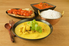 Indischer Küche-Nahrungsmittelmahlzeit-Curry stockfotos